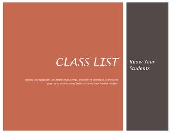 Class List Organizer PDF Version