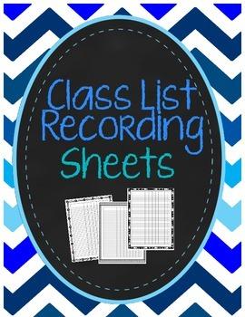 Class List Recording Sheets