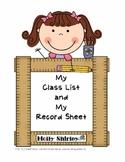 Class List Sheet and Record Sheet - Blank Grids for Teachers
