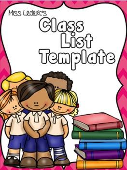 Class List Template Editable