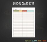 Class List for Teachers (Vintage School Days Theme)
