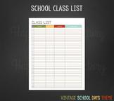 Class List for Teachers (Vintage School Days Theme)