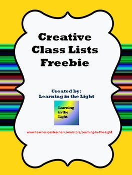 Class Lists Freebie