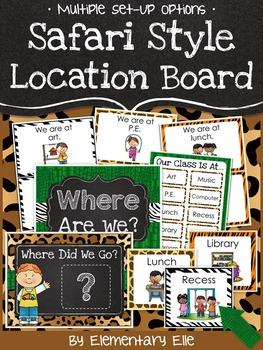 Class Location Board - Safari Style Theme {Jungle and Animal Print}