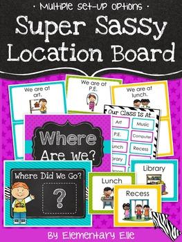 Class Location Board - Super Sassy Theme {Bold and Zebra Print}
