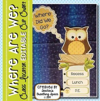 """""""Where Are We?"""" Clip Chart Sign with EDITABLE Pages --- Ow"""
