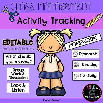 Class Management Activity Tracker Bulletin Board Labels - EDITABLE!