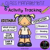 Class Management Activity Tracker Bulletin Board Labels -