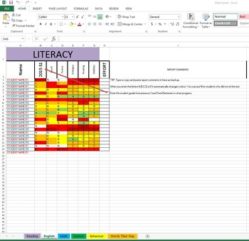Class Mark Book by using Excel