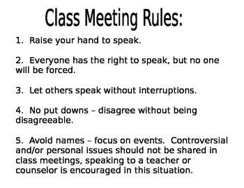 Class Meeting Rules Sheet