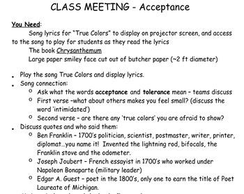 Class Meeting Lesson Plan Bundle