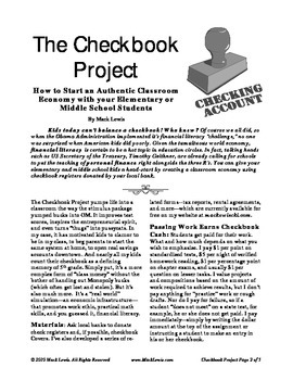 Class Money: The Checkbook Project class economy financial literacy