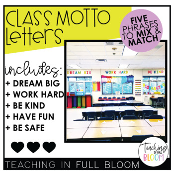 Class Motto Letters - Dream Big, Work Hard, Be Kind