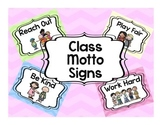 Class Motto Signs in Chevron Pastels
