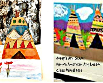 Class Mural Art Lesson Native American Teepees History Gra