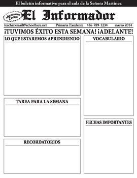 Class Newsletter / Boletin Informativo in Spanish for Bili