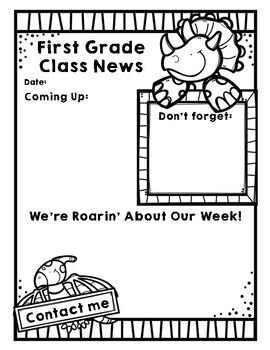 Class Newsletter Dinosaur Theme