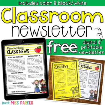 Newsletter Template Editable Free Digital Printable By Meet Miss - Free digital newsletter templates