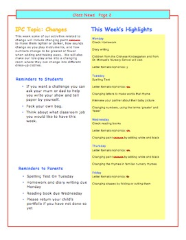 Class Newsletter Easy Template
