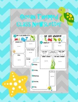 Class Newsletter: Ocean Theme