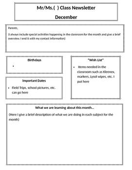 Class Newsletter Outline