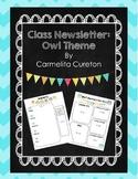 Class Newsletter: Owl Theme