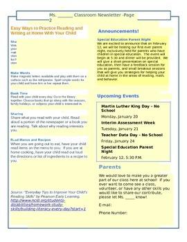 Class Newsletter Template