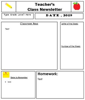 class newsletter template by simply pre k teachers pay teachers