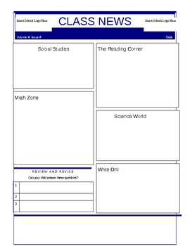 Class Newsletter Template or Student Newsletter Template