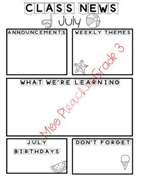 Class Newsletter Templates