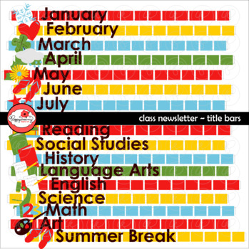 Class Newsletter Title Bars Clipart by Poppydreamz