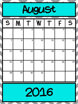 Class Newsletter and Calendar Editable 2016-2017 Chevron
