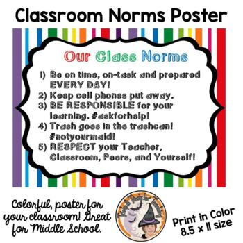 Class Norms Rules Poster Back to School Classroom Behavior Expectations