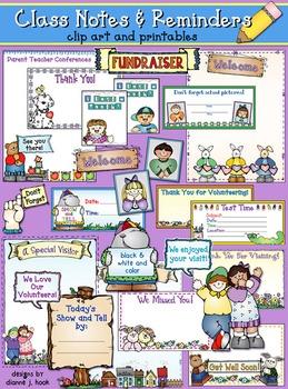 Class Notes & Reminders Clip Art & Printables