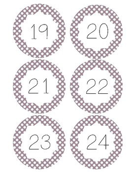 Class Number Labels (Polka Dot)