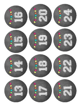 Class Number Set (Chalkboard themed)