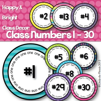Classroom Numbers 1 - 30