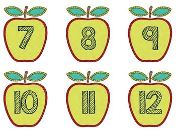 Chalkboard Apples Number Labels