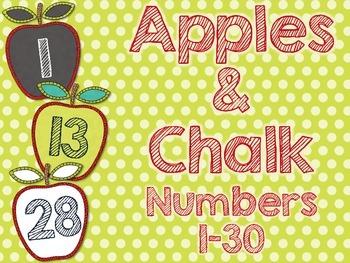 Chalkboard Apples Number Labels