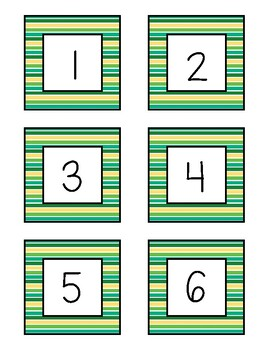 Class Numbers - Green & Yellow Stripe (1-36)