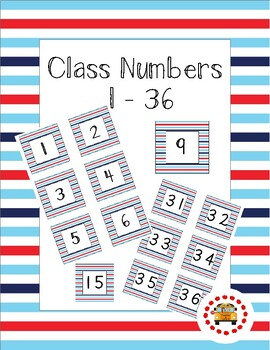 Class Numbers - Nautical Stripe (1 - 36)
