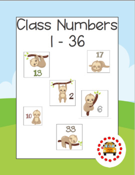 Class Numbers - Sloth Themed (1-36)