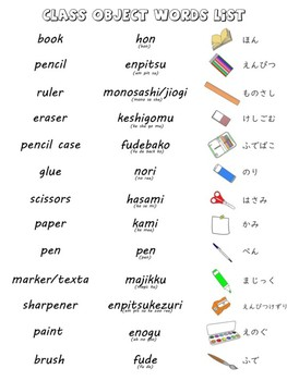 Class Objects in Japanese