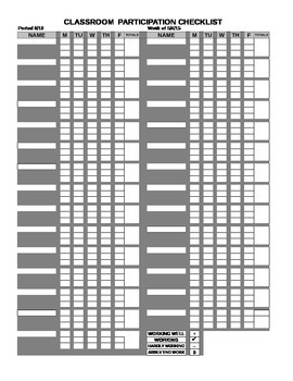 Class Participation Checklist/Spreadsheet