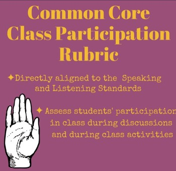 Class Participation Rubric Common Core: Speaking and Listening