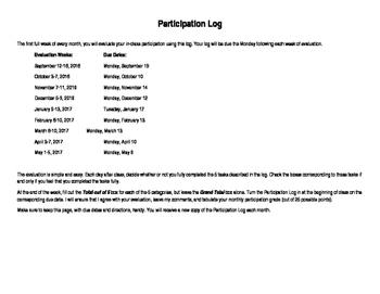 Class Participation Student Evaluation Log