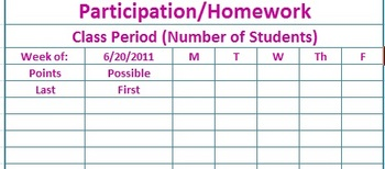 Class Participation or Homework Completion Template