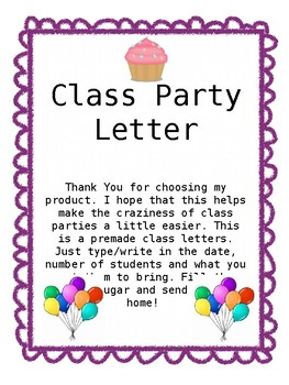 Class Party Letter