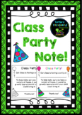 Class Party Note