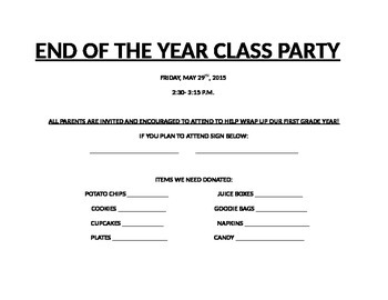Class Party Sign Up List